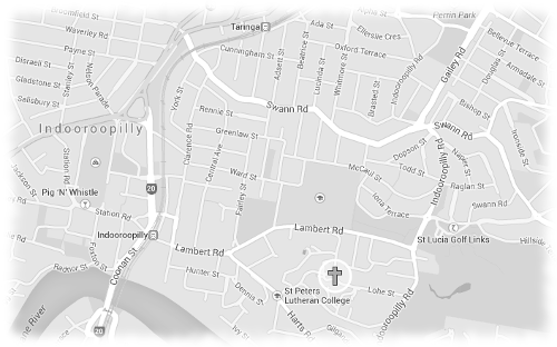 St Peters Indooroopilly Lutheran Church Map